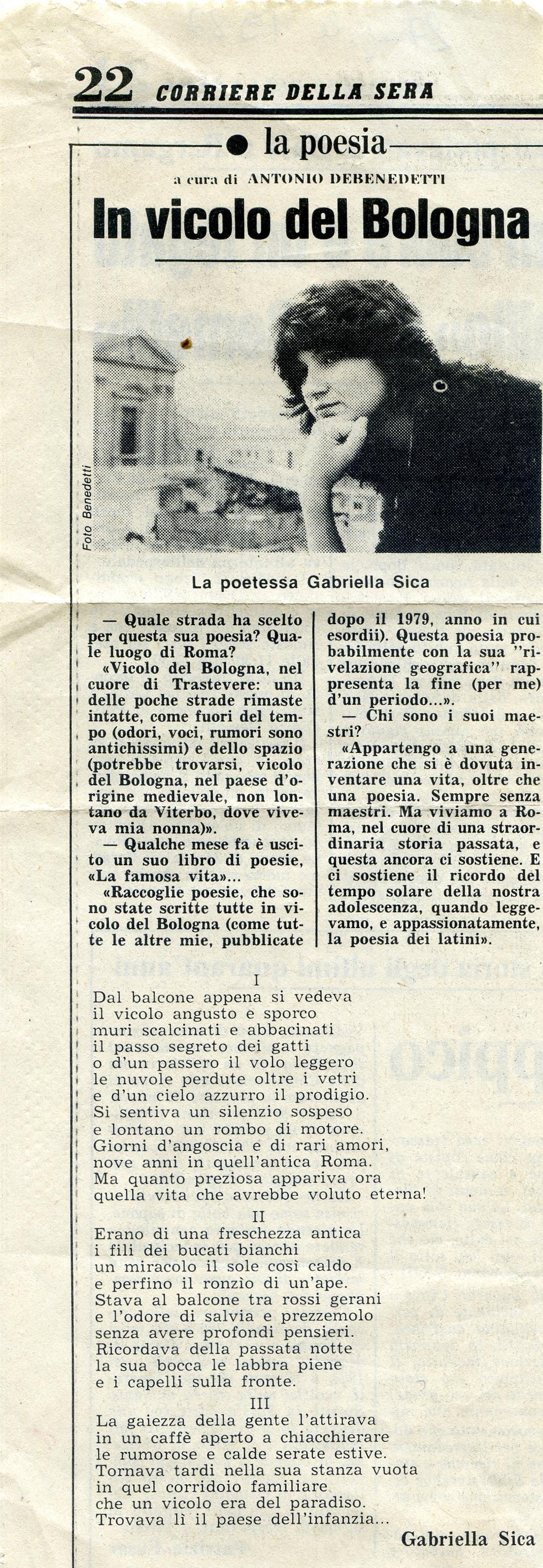 In vicolo del Bologna 1987